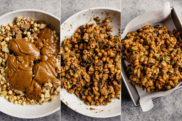 grid of images showing how to mix cereal and nut butter mixture until combined