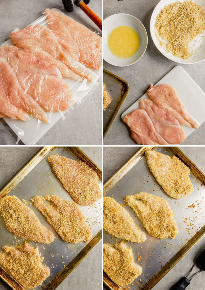 step by step images showing how to bread chicken breasts