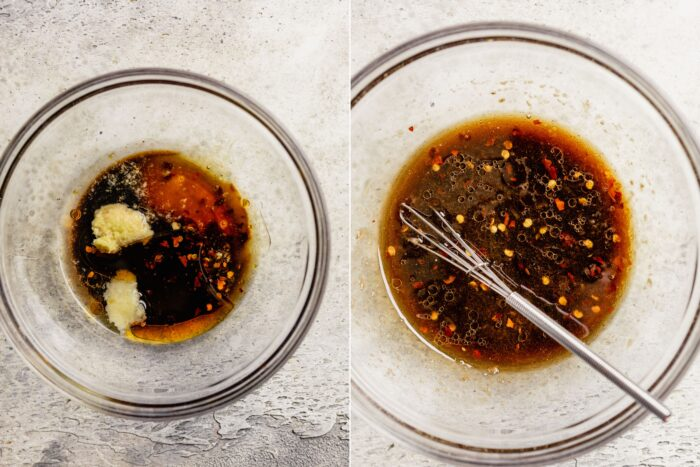 a grid of two images showing how to whisk up an Asian dressing
