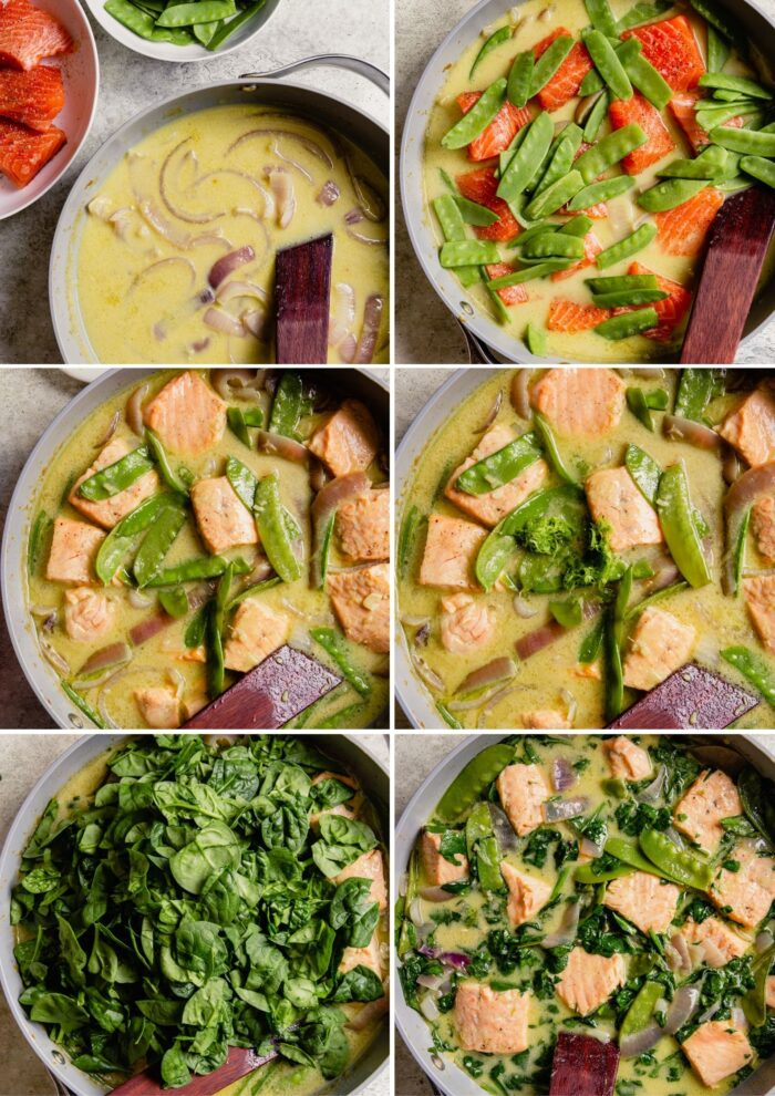 step-by-step grid of images showing how to make a coconut green curry with salmon
