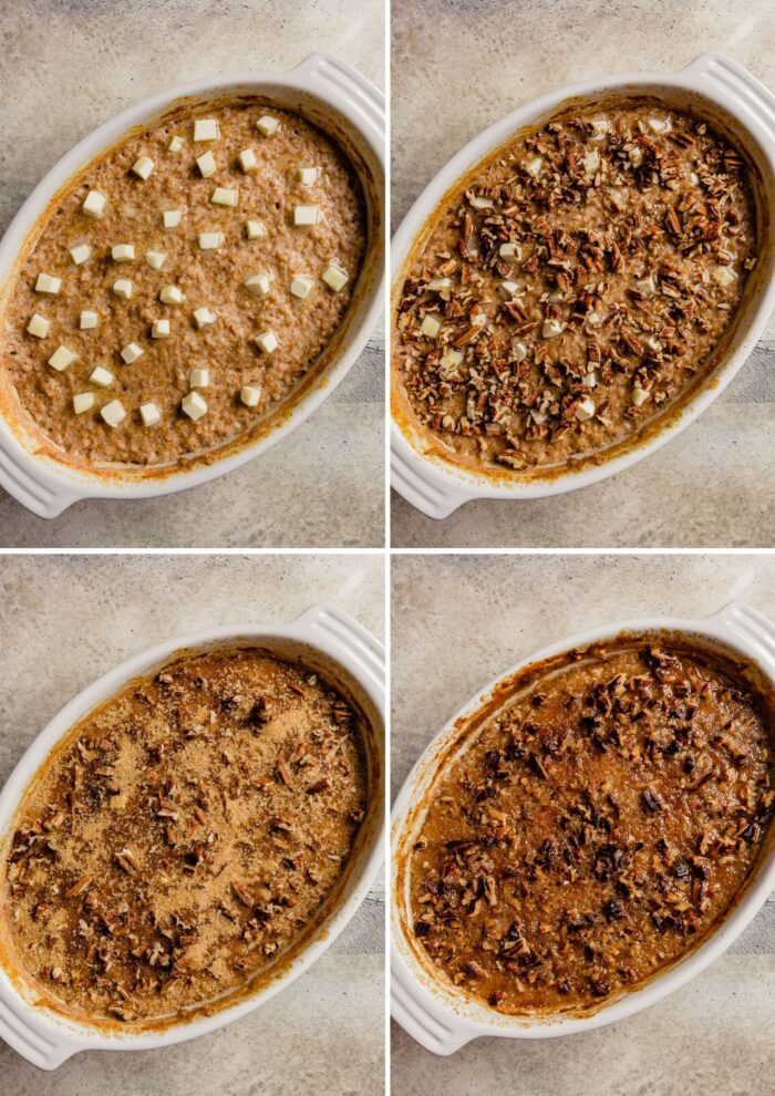 step-by-step grid of images showing how to bake steel cut oatmeal