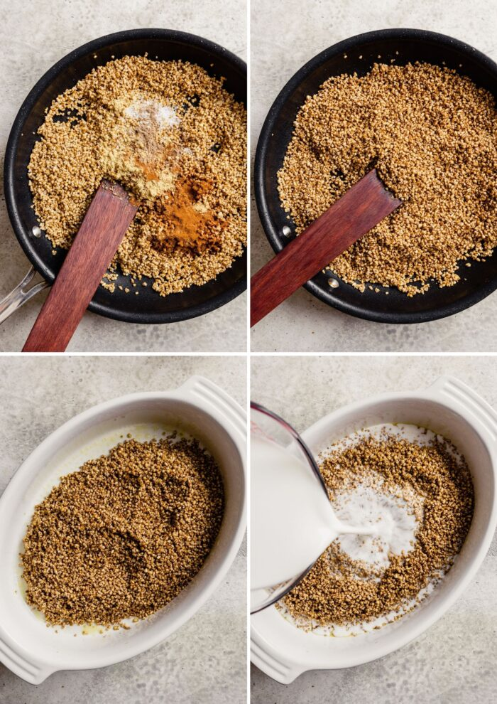 step-by-step grid of images showing how to toast steel cut oats and prepare for baking