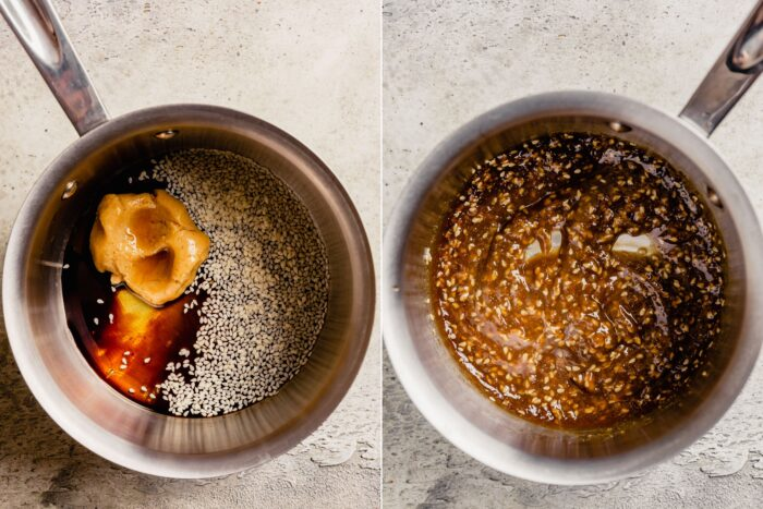 step-by-step grid of images showing how to make a miso glaze