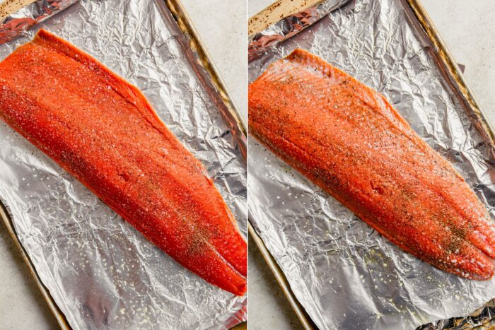 step-by-step grid of images showing how to season salmon with salt and pepper