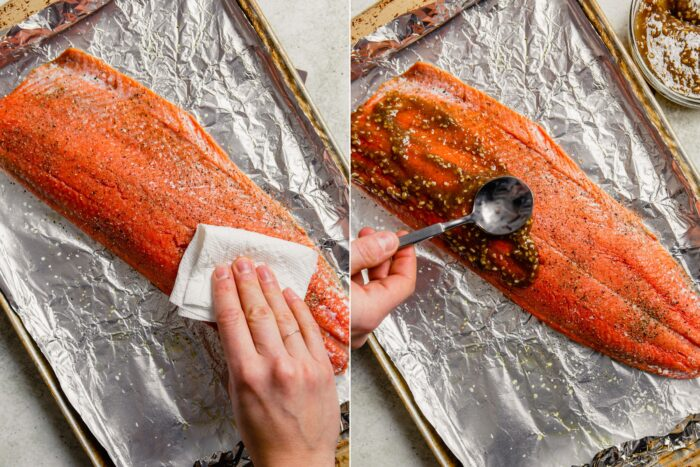 step-by-step grid of images showing how to glaze a whole salmon fillet