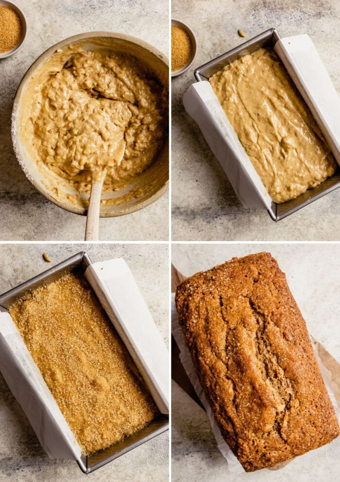 step-by-step grid of images showing how to bake banana bread
