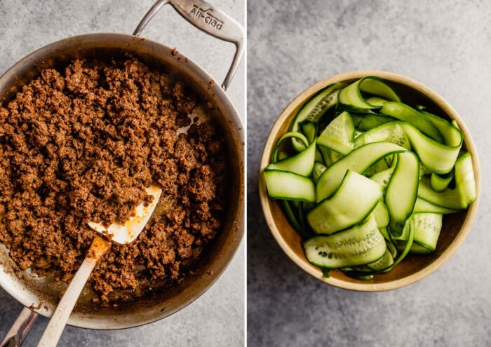 ground beef in a saute pan and pickled cucumber ribbons in a brown bowl