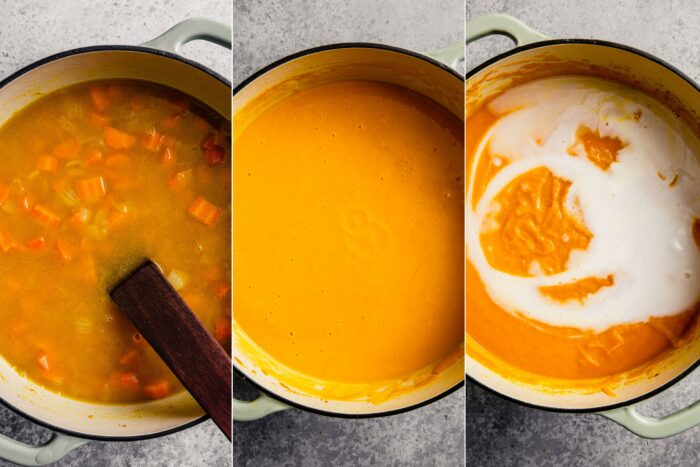 grid of three images showing a carrot soup not pureed, pureed, and with coconut milk added