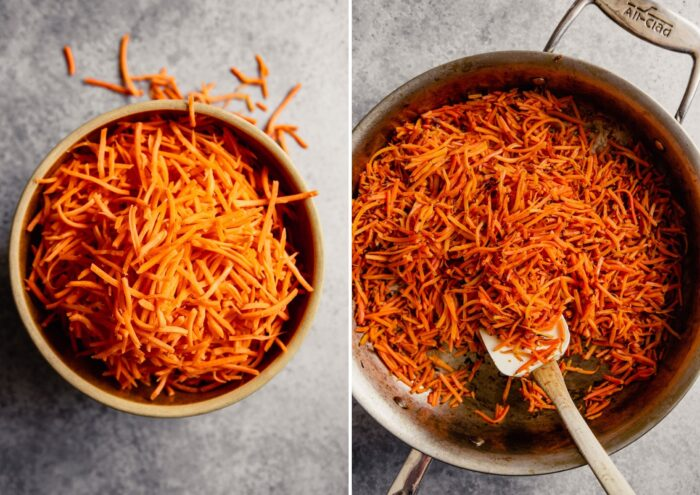 two images, one with shredded carrots on a brown bowl and charred carrots in a saute pan