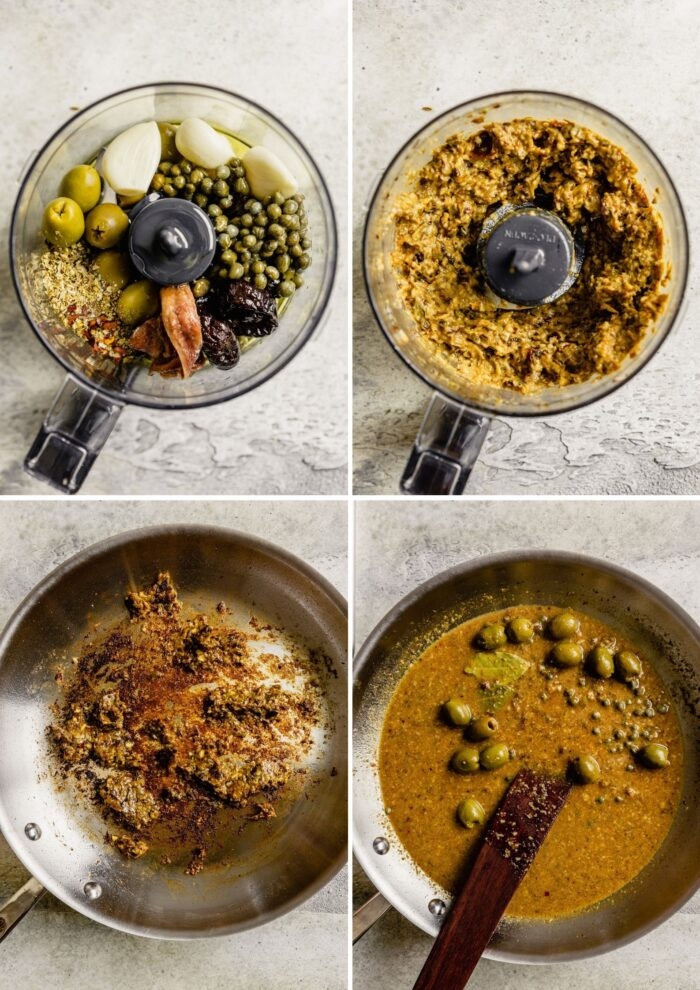 step by step photos showing how to make an olive paste