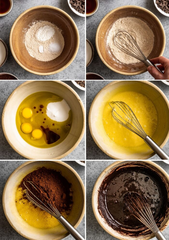 step-by-step grid of images showing how to make brownie batter