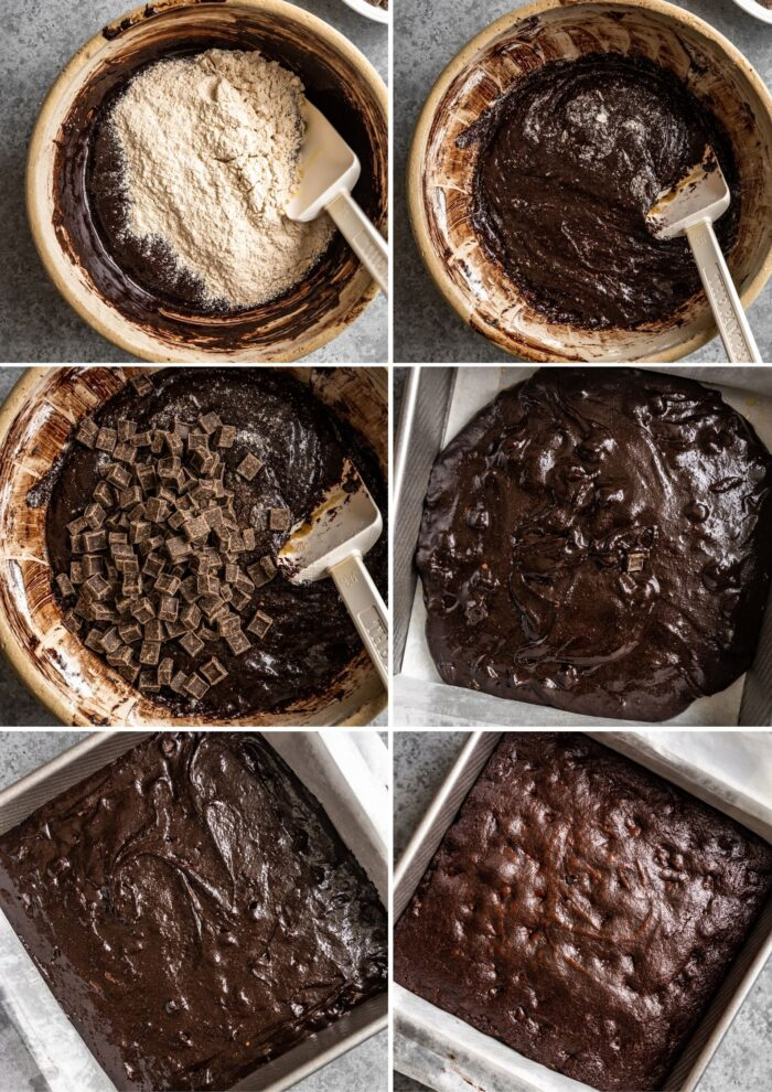 step-by-step grid of images showing how to mix and bake brownie batter