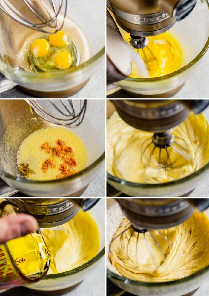 grid of images showing how to make olive oil cake batter