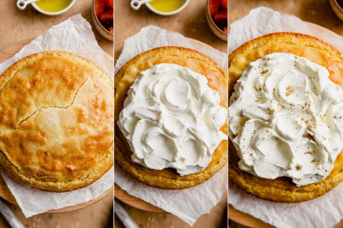 step-by-step grid of images showing how to decorate an orange olive oil cake with whipped cream and oranges