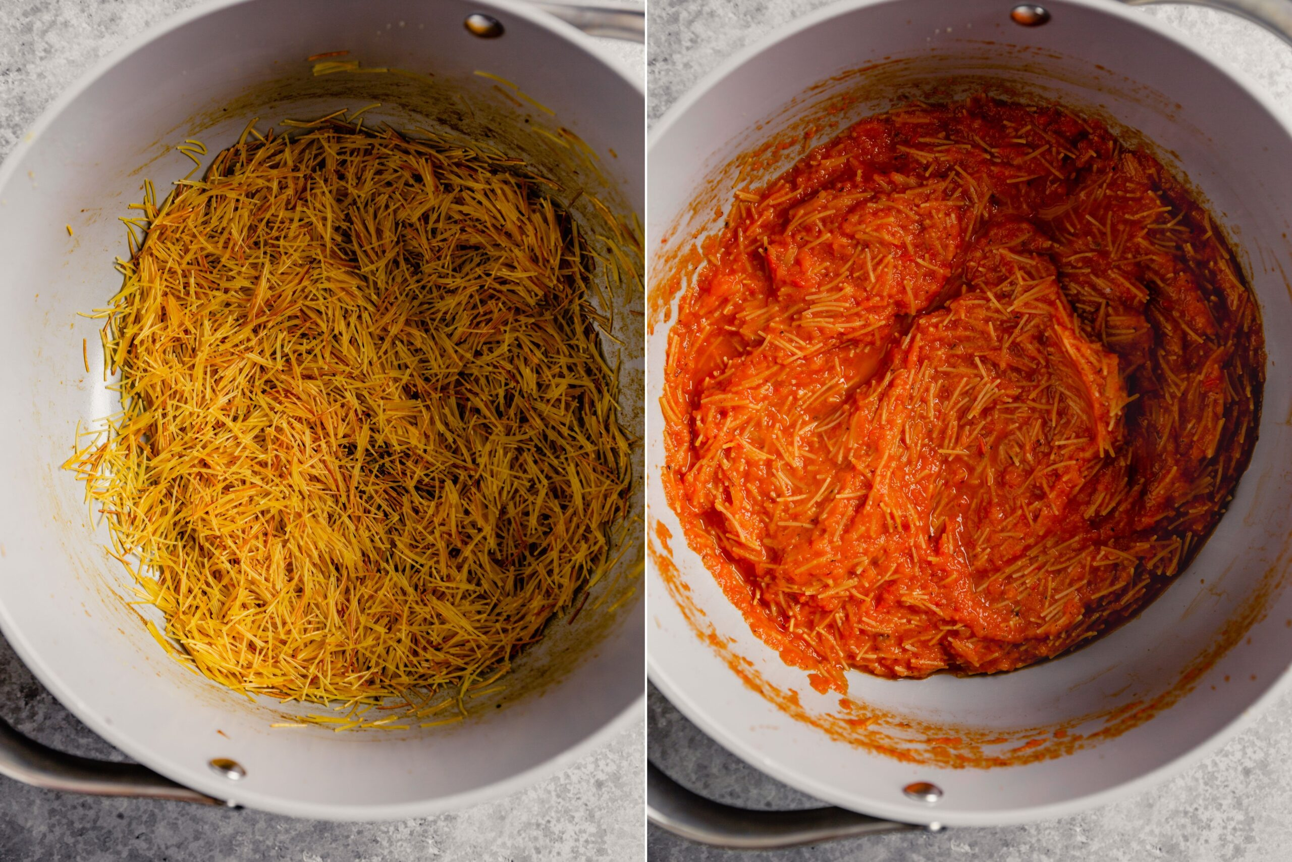 grid of two images showing how to toast noodles in a pot and then noodles in a pot with tomato sauce