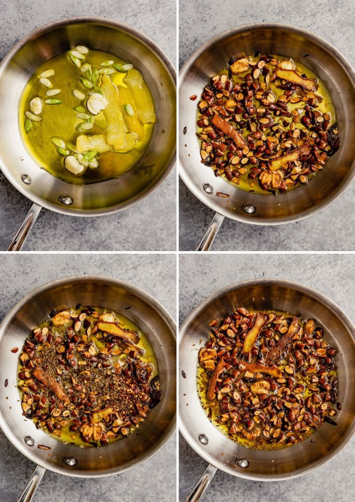 grid of four images showing garlic, lemon and scallions in a skillet with oil uncooked, a skillet with garlic, scallions, lemon peels and oil nicely browned, a skillet with almonds toasted, a skillet with almonds and cumin seeds toasted