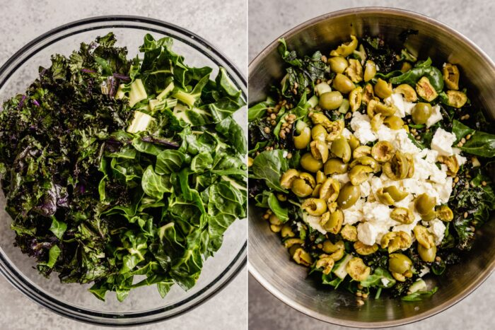 two images side by side, the left showing a large glass bowl filled with kale and Swiss chard