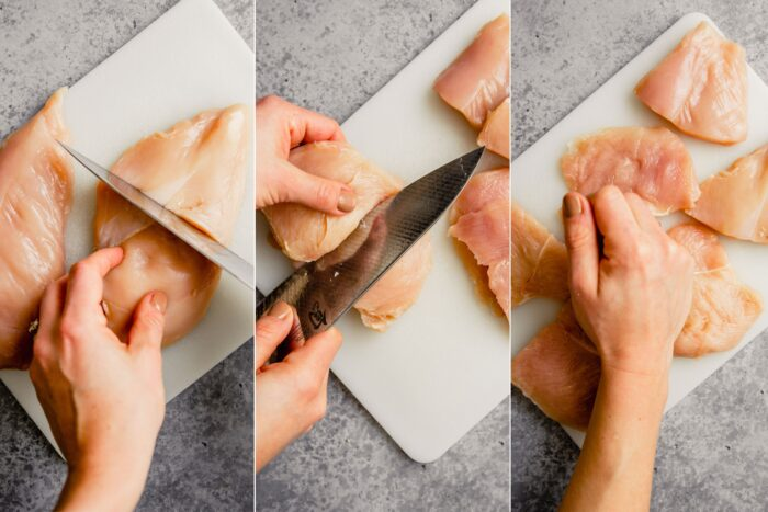 step-by-step grid of images showing how to slice chicken breast into three thin pieces