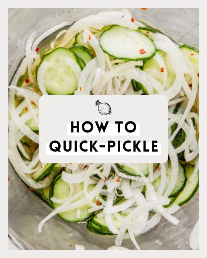 image of pickled cucumbers and onions in a glass bowl with text overlay