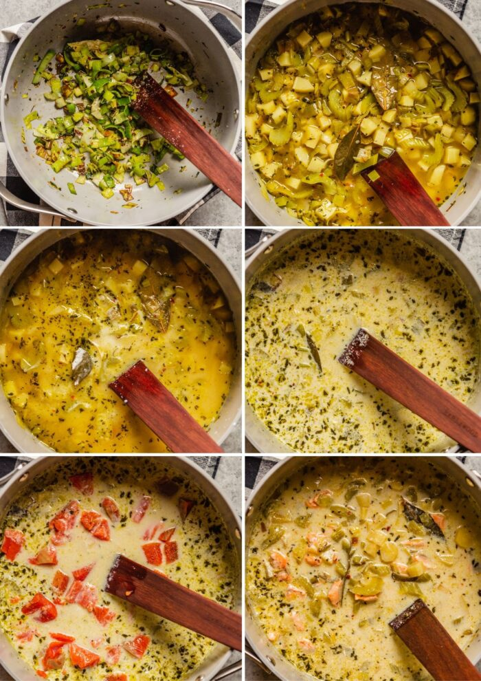 grid of images showing how to cook salmon chowder