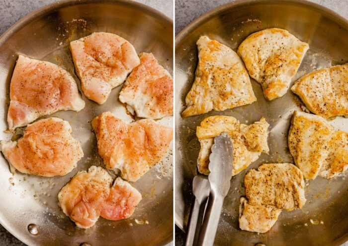 two images showing how to pan sear chicken in a skillet