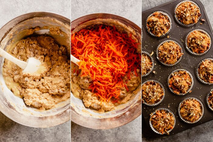 collage of three images showing how to mix up a muffin batter, adding shredded carrots to batter, and scooping batter into muffin tin