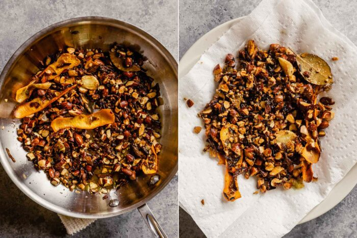 a collage of two images, the left being toasted nuts, seeds, scallions, and garlic in a skillet with oil, the second featuring a plate lined with paper towels with toasted nuts and seeds