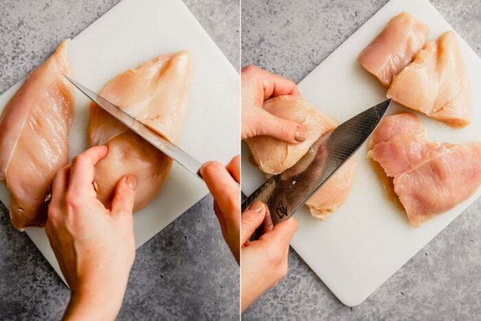 two images showing how to halve a chicken breast and then how to cut the thick half in half again to two thin cutlets