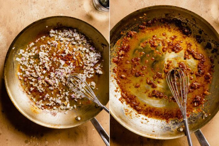 two images next to each other, the lefto showing how to cook shallots in a skillet, the second showing a butter sauce in the skillet