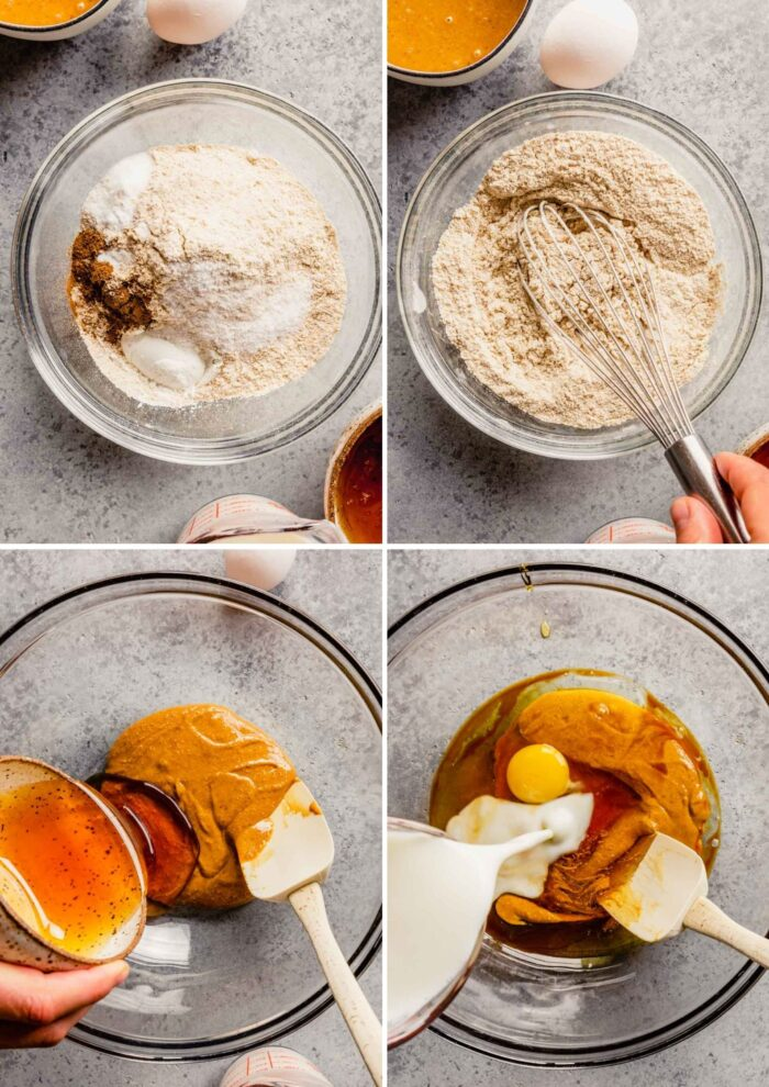 grid of images showing how to whisk together dry ingredients and wet ingredients for quick bread
