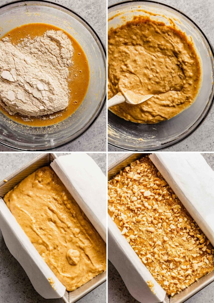 grid of images showing how to make a quick bread batter