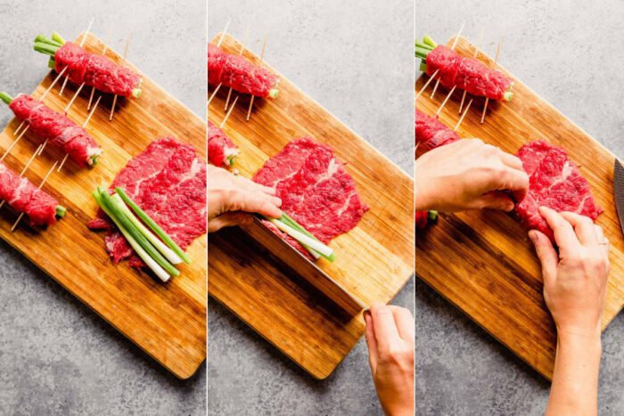 three images next to each other showing how to roll thin slices of steak around scallions