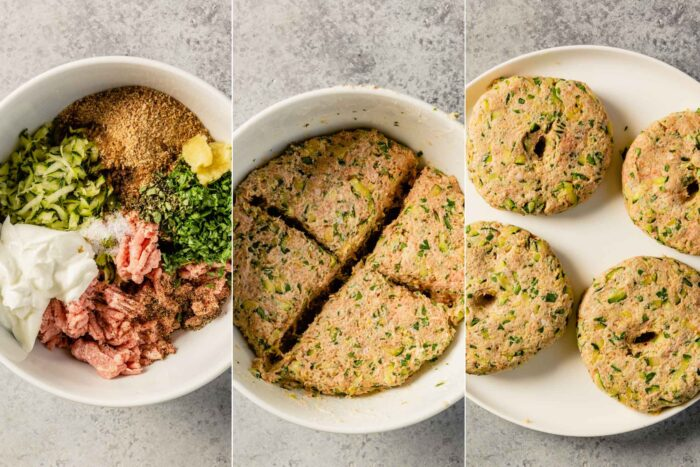 grid of three images showing how to mix and form turkey burgers