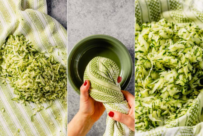 grid of three images showing how to squeeze the excess liquid out of shredded zucchini