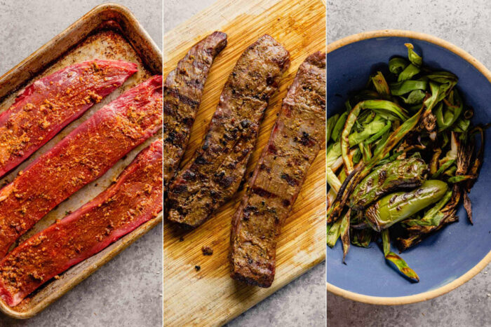 grid of three images showing raw steak rubbed with a chipotle rub, grilled steak and charred jalapeno and scallions
