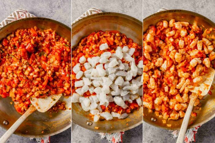 grid of three images showing cooked tomato sauce, tomato sauce with raw shrimp added and with raw shrimp mixed in
