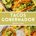 Tacos Gobernador, aka crispy shrimp tacos! Featuring chunks of shrimp tossed in a saucy tomato chile mixture and piled into tortillas with melted cheese. They're bold in flavor, slightly spicy, and wonderfully crispy. Bonus: they get cooked in batches in the oven which makes this a great weeknight meal!