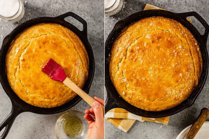 a grid of two images showing how to brush honey over cornbread and top with flaky sea salt