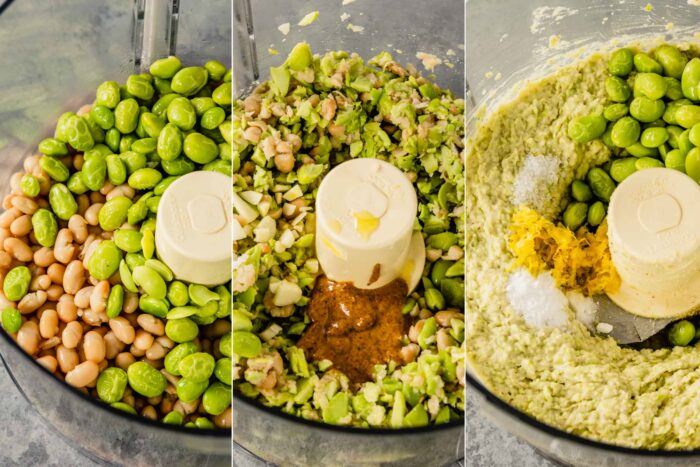grid of three images showing edamame and beans in a food processor, chopped edamame in a food processor and blended hummus in a food processor with lemon zest and salt added
