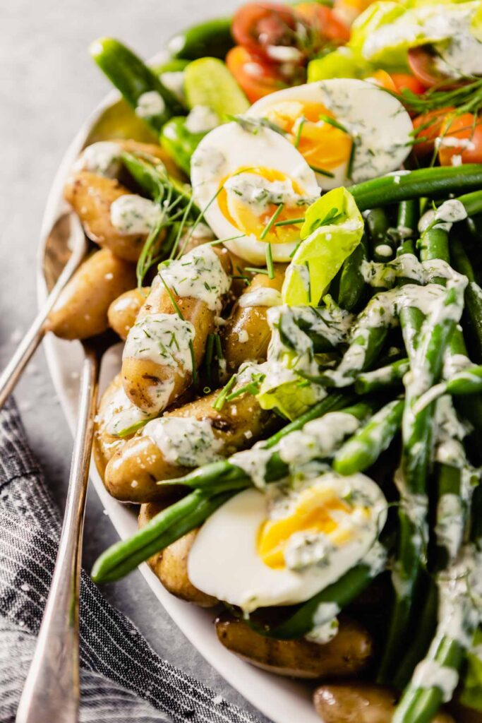 salad featuring green beans and potatoes dressing with ranch dressing