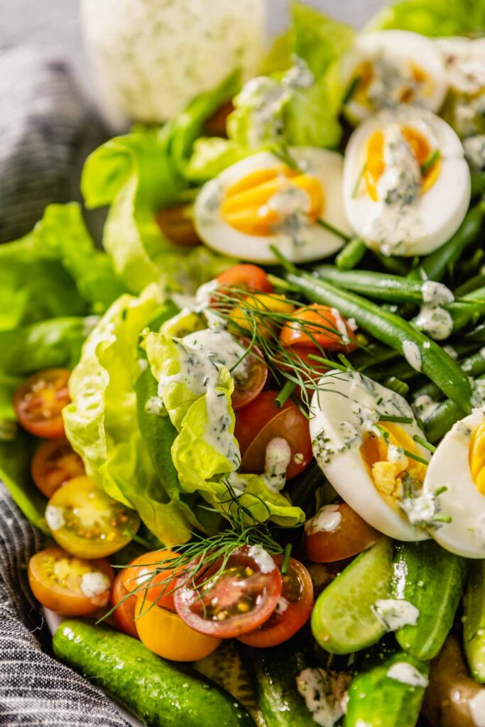 butter lettuce dressed with dill ranch dressing