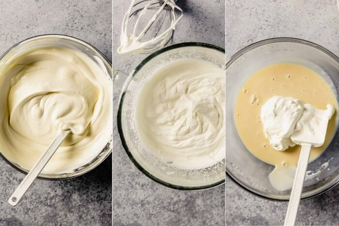 three images showing how to mix together sweetened condensed milk and extract, what stiff peaks in whipped cream look like, and adding whipped cream to sweetened condensed milk