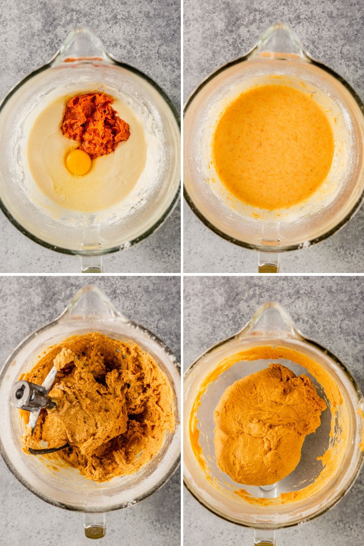 grid of four images showing eggs and sweet potato mash added to batter, an orange batter, mixed brea dough and a kneaded orange bread dough
