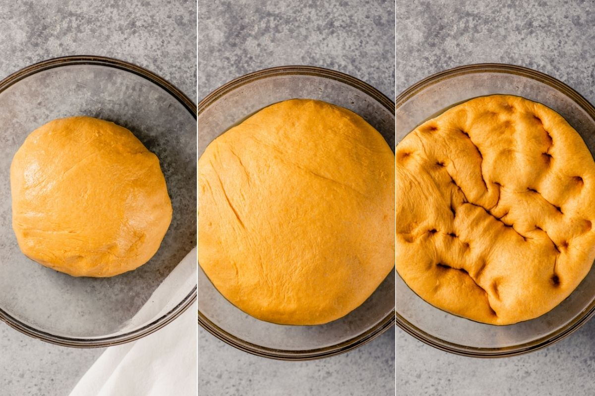 three images showing sweet potato dough in a glass bowl, the second image showing the dough after rising and a third images showing it once the dough has been punched down