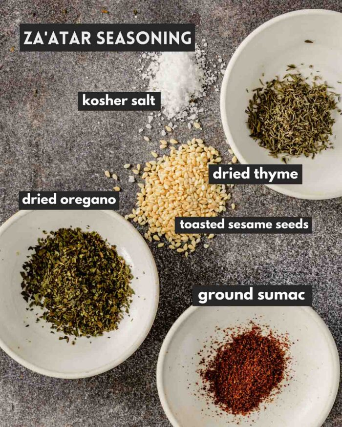 spices measured out and arranged on a counter