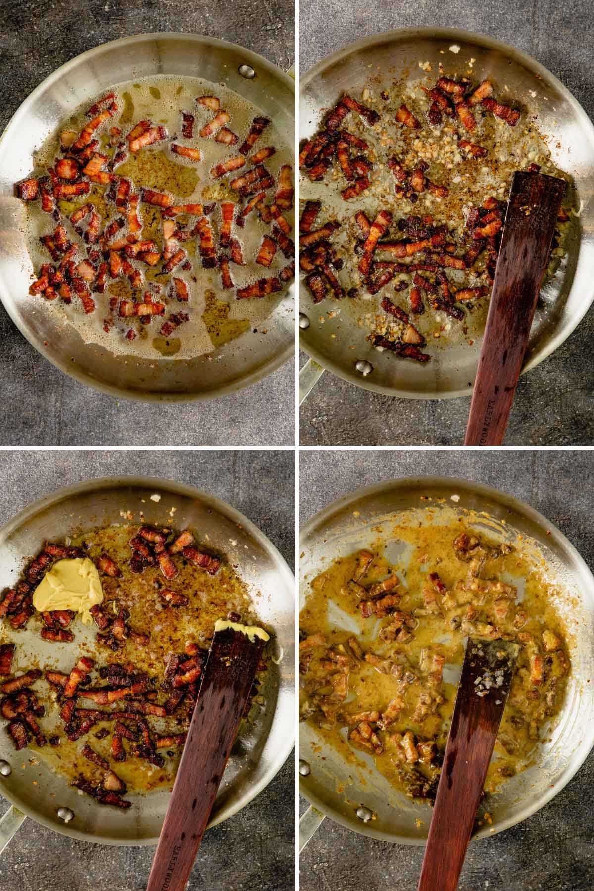 grid of four images showing how to crisp bacon lardons, cooking shallots with lardons, adding dijon and making a warm bacon vinaigrette
