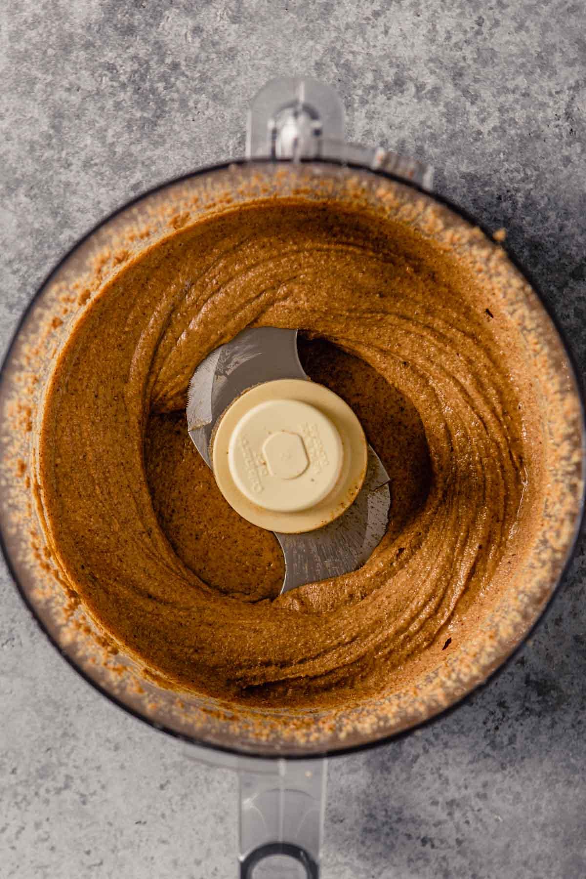creamy and smooth almond butter in a food processor
