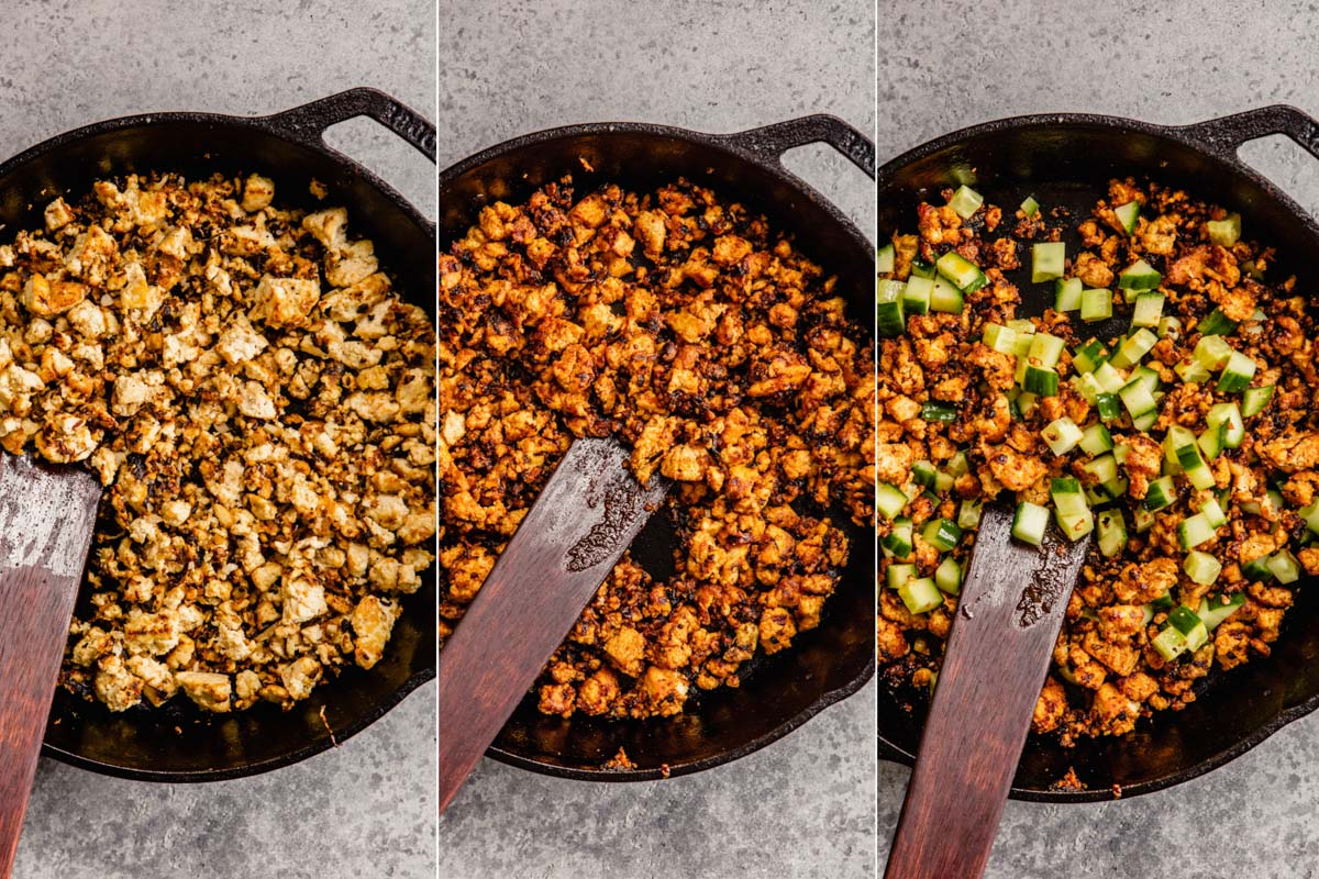 three images showing fried tofu in a cast-iron skillet, fried tofu tossed with a red sauce and fried tofu mixed with cubed cucumber