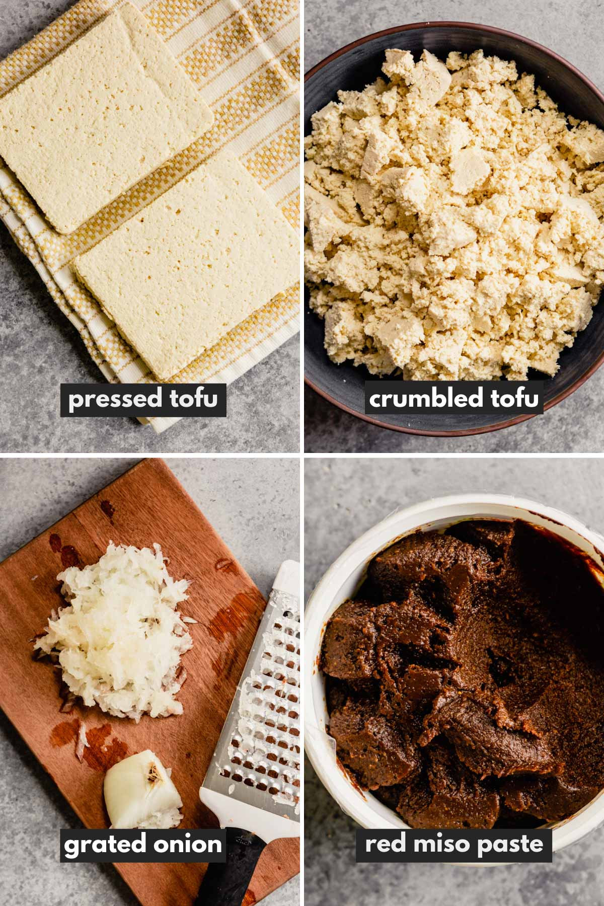four images showing how to press tofu, crumble tofu, shredded onion and what red miso looks like