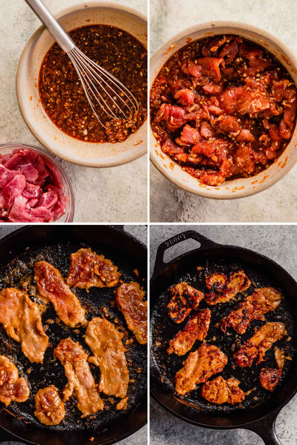 grid of images showing a marinade, meat in marinade, pork slices cooking a cast iron skillet